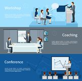 Public speaking flat horizontal banners set Stock Photography