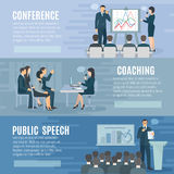 Public Speaking Flat Horizontal Banners Set Royalty Free Stock Images