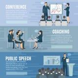 Public Speaking Flat Horizontal Banners Set Royalty Free Stock Images