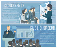 Public Speaking Flat Horizontal Banners Set Royalty Free Stock Photography