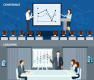 Public speaking 2 flat horizontal banners. Public speaking skills improvement for business people 2 flat horizontal banners composition poster abstract vector stock illustration