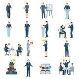 Public Speaking Flat Icons Set Stock Photos