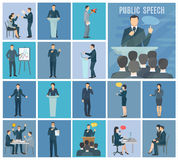 Public Speaking Flat Icons Set Stock Photography