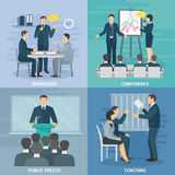 Public Speaking 4 Flat Icons Square Royalty Free Stock Images