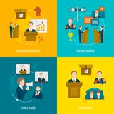 Public speaking flat set. Public speaking flat icons set of business presentation political debates figure speech isolated vector illustration Stock Photo