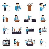 Public Speaking Icons Flat. Public speaking businessmen and politicians icons flat set isolated vector illustration Royalty Free Stock Images