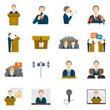 Public speaking icons. Set with business presentation politician conference vector illustration royalty free illustration