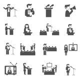 Public Speaking Icons Set. Public speaking seminar and presentation black icons set isolated vector illustration Royalty Free Stock Photos