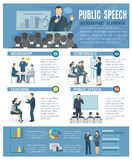 Public Speaking Infographic Elements Flat Poster Royalty Free Stock Photos