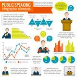Public speaking infographic. Public speaking presentation seminar conference broadcast infographic elements set vector illustration Stock Images