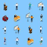 Public Speaking Isometric Icons Set Royalty Free Stock Photo