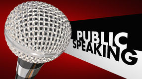 Public Speaking Microphone Speech Words. 3d Illustration royalty free illustration