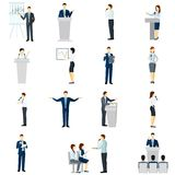 Public speaking people flat icons set Royalty Free Stock Image