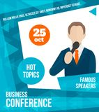 Public speaking poster. Public speaking business conference famous speaker person poster vector illustration Stock Photos