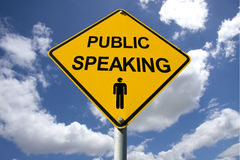 Public Speaking Sign. With Cloudy Background Stock Images