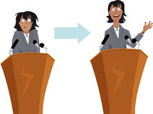Public speaking training. Anxious businesswoman character before and after public speaking training, EPS 8 vector illustration vector illustration