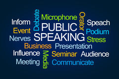Public Speaking Word Cloud. On Blue Background stock illustration