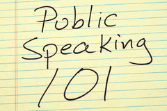 Public Speaking 101 On A Yellow Legal Pad. The words `Public Speaking 101` on a yellow legal pad stock image
