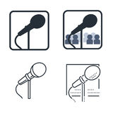 Public speech icon set with microphone. Royalty Free Stock Images