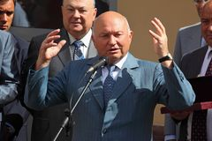 Public speech of mayor Luzhkov Royalty Free Stock Photography
