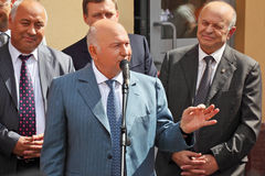 Public speech of mayor Luzhkov Stock Image