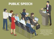 People Records Report of Manager on Public Speech. Public speech vector illustration. Manager in suit stands behind podium, people sitting and standing at hall Stock Images