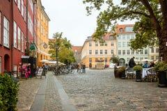 Public square in the centre of Copenhagen, Denmark. Restaurants at Gråbrødertorv, Copenhagen, Denmark Stock Photography