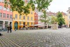 Public square in the centre of Copenhagen. Restaurants at Gråbrødertorv, Copenhagen, Denmark Royalty Free Stock Photo