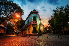 Public Square in La Boca, Buenos Aires, Argentina. Taken during. Sunset on April 9th 2015 Royalty Free Stock Photos
