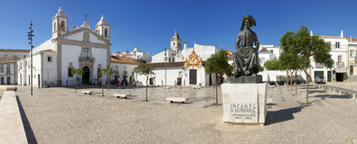 A public square in Lagos, Algarve, Portugal called Praca Infante Dom Henrique. Stock Images