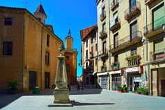 Public stone drinking fountain. Vic, Spain. Royalty Free Stock Photo