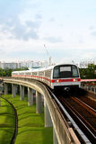 Public Subway Transport. On Concrete Bridge View Stock Image