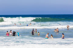 Public Swimming Ocean Waves Stock Photo