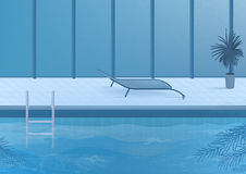 Public swimming pool inside interior. vector illustration. Stock Image