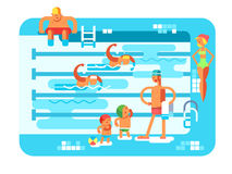 Public swimming pool. Water sport, resort swim, vacation and relaxation, vector illustration Stock Photography