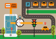 Public taxi on line service, mobile application. Navigation map Stock Image