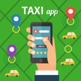 Public taxi online service, mobile application. Navigation map with yellow taxi and hand holding smatrphone. Flat vector app illustration Royalty Free Stock Photo