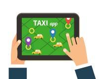 Public taxi online service, mobile application Stock Photo