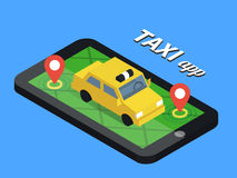 Public taxi online service, mobile application. Royalty Free Stock Photo