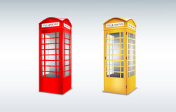 Public telephone booth. Red-Yellow Stock Photography