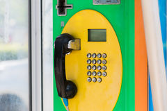 Public telephone dual system in Thailand,card and coin. Royalty Free Stock Photo