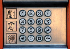 Public telephone keyboard Royalty Free Stock Image