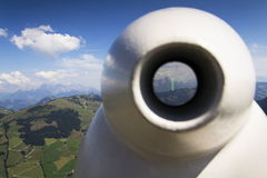 Public telescope arrayed against Loferer Mountains in Alps Austria Royalty Free Stock Photo