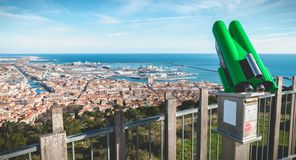 Public telescope on Mount St. Clair overlooking the town of Sete. Sete, France - January 4, 2019: View of a public telescope on Mount St. Clair overlooking the royalty free stock photos