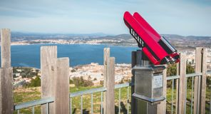 Public telescope on Mount St. Clair overlooking the town of Sete. Sete, France - January 4, 2019: View of a public telescope on Mount St. Clair overlooking the royalty free stock image
