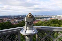 Public telescope with Prague city center, Czech republic Stock Photo