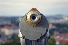 Public telescope with Prague city center, Czech republic Royalty Free Stock Photography
