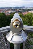 Public telescope with Prague city center, Czech republic Royalty Free Stock Image