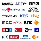 Public television broadcasters vector logo collection set stock images