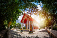 The public temple in nature  in Thailand with fisheye lense Royalty Free Stock Images